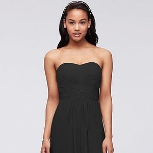 Strapless Chiffon Dress, Pleated Bodice